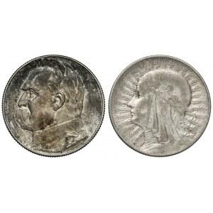 5 złotych 1932 i 1938 Głowa i Piłsudski, RZADKIE (2szt)