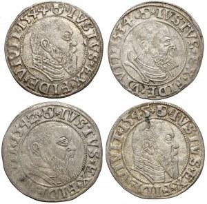 Prusy, Albrecht Hohenzollern, Grosze Królewiec 1534-1545 (4szt)