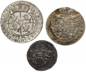 August III Sas, od grosza do ort - zestaw (3szt)