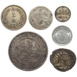 Rzym, Chiny, Szwecja... mix monet (6szt)