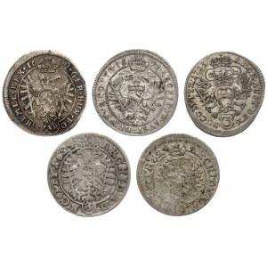 Austria, od Ferdynanda III do Karola IV, 3 krajcary - zestaw (5szt)