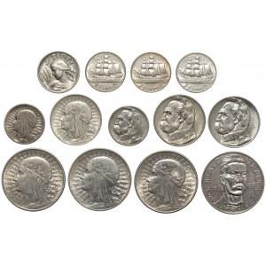 1 - 10 złotych 1925-1936, w tym Traugutt (13szt)