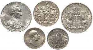 Niemcy i Austria, Marki i korona 1908-1933 (5szt)