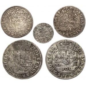 Jan II Kazimierz, od szeląga do tymfa (5szt)