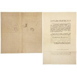 Ceduła Urzędowa Giełdy Pieniężnej Poznań 1927 i Dokumnet Lwów 1835 (2szt)