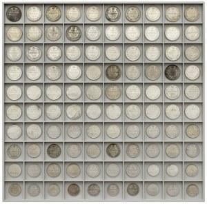 Rosja, Mikołaj II, od 10 do 20 kopiejek - duży zestaw (100szt)