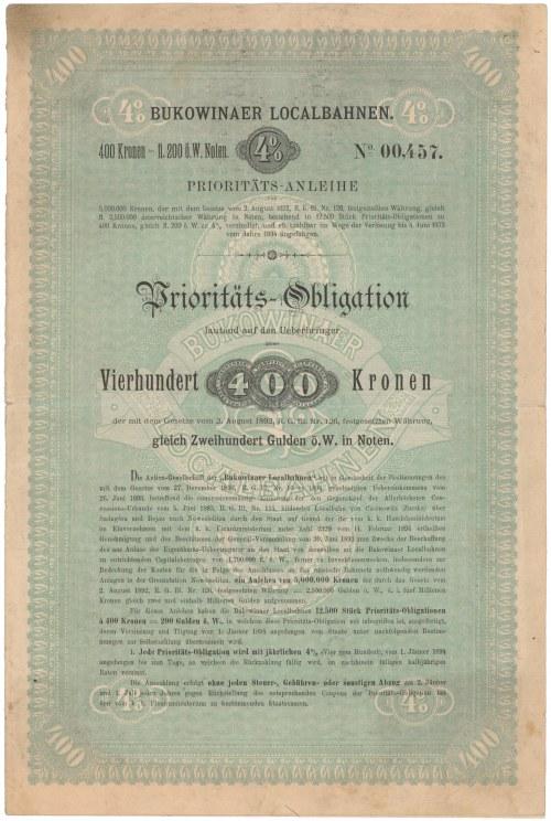 Czerniowice, Kolej Bukowina, Obligacja 400 kr 1894