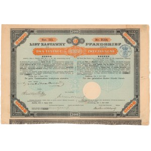 Lwów, Galicyjskie TKZ, List zastawny 2.000 kr 1893