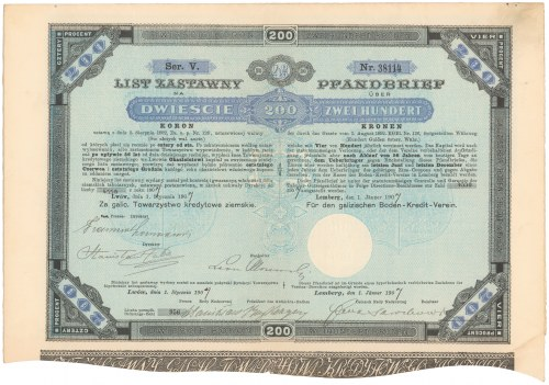 Lwów, Galicyjskie TKZ, List zastawny 200 kr 1893