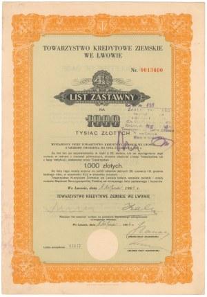 Lwów, TKZ, 4.5% List zastawny 1.000 zł 1934