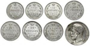 Rosja, Mikołaj II, od 15 do 50 kopiejek - zestaw (8szt)