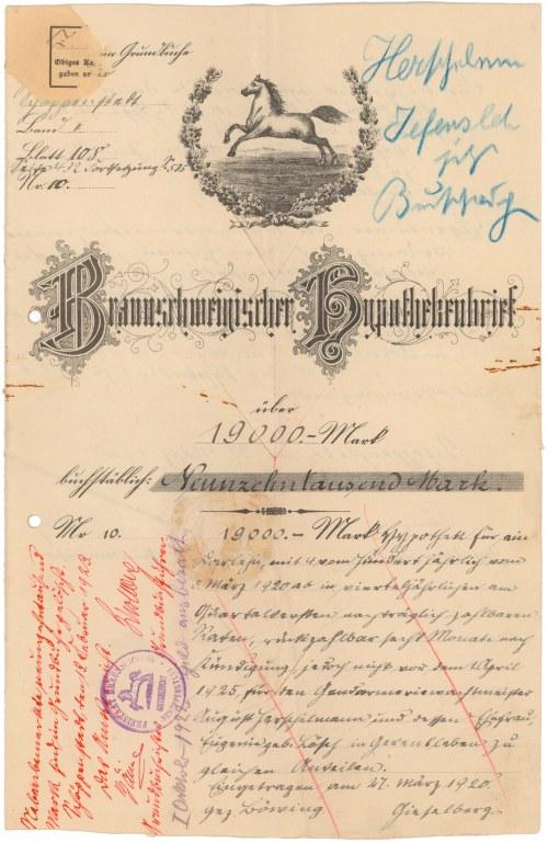 Niemcy Wolfenbüttel, List zastawny 1920 r.