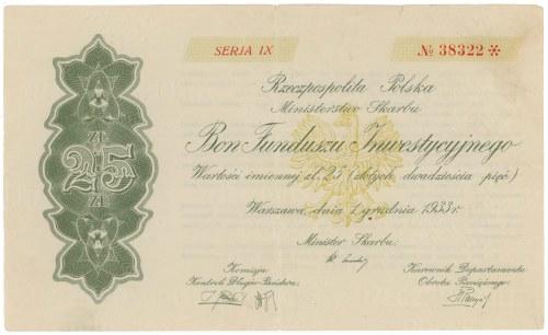 Bon Funduszu Inwestycyjnego, SERJA IX, 25 zł 1933
