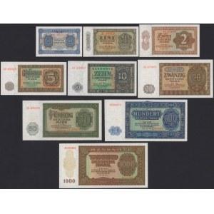 Niemcy, DDR KOMPLET nominałowy 50 pfg - 1.000 mk 1948 (9szt)