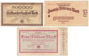 Germany, Deutsche Reichsbahn, 500.000 mk, 1 & 20 mln mk 1923 (3pcs)