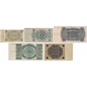 Niemcy, 1 mk - 500 mld mk 1923-24 (5szt)