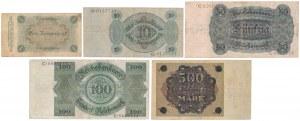 Germany, 1 mk - 500 mld mk 1923-24 (5pcs)