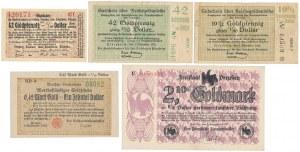 Niemcy, zestaw Goldpfennig i Goldmark (5szt)