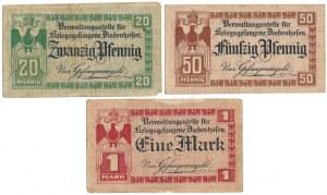 Niemcy, Obóz jeniecki Diedenhofen, 20, 50 pfg i 1 mk (1915-1918) (3szt)