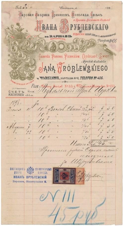 Fabryka Parowa Pierników, Czekolady, Świec i Wyrobów Woskowych Jana Wróblewskiego - rachunek 1898 r.
