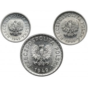 10, 20 groszy i 1 złoty 1949 (3szt)