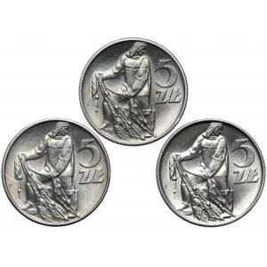 Rybak 5 złotych 1959-1973, w tym SŁONECZKO (3szt)