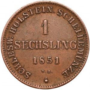 Schleswig-Holstein, Friedrich VII., 1 sechsling 1851