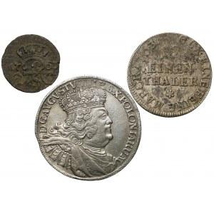 August III Sas, od szeląga do orta - zestaw (3szt)
