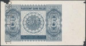 5 złotych 1946 - DRUK PRÓBNY rewersu - perforacja 1.2.1.1946