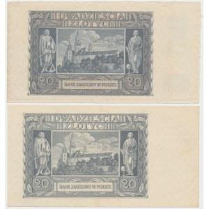 20 złotych 1940 - bez poddruku i z poddrukiem (2szt)