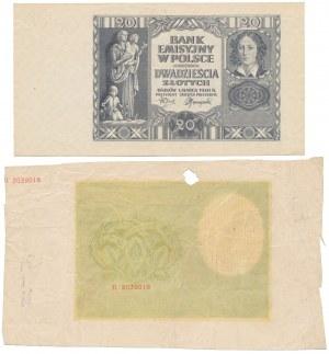 Nieukończone druki - 20 i 500 złotych 1940 (2szt)