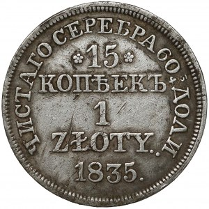 15 kopiejek = 1 złoty 1835 MW, Warszawa - kropka po dacie