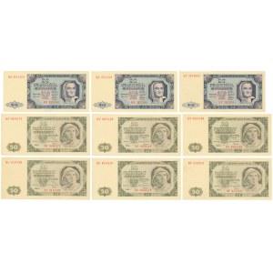 Zestaw 3x 20 zł i 6x 50 zł 1948 (9szt)