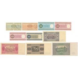 Zestaw banknotów z lat 1946-48 i PEWEX (9szt)