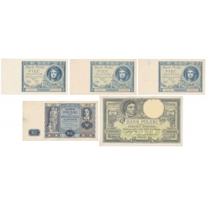 Zestaw banknotów z lat 1919-1936 (5szt)
