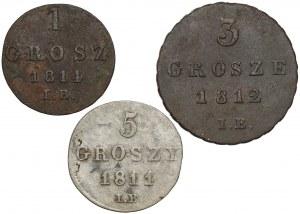 Księstwo Warszawskie, od 1 do 5 groszy - zestaw (3szt)
