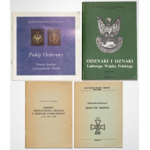 Broszury i katalogi, odznaczenia, odznaki, medale (4szt)