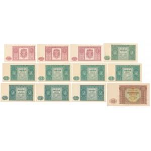 Zestaw banknotów 1, 2 i 10 złotych 1946 (12szt)