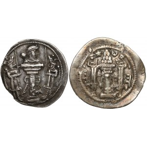 Sasanidzi, Szapur II (309–379) i Peroz I (457–484), drachma (2szt)