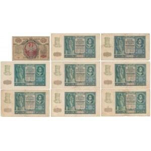 10 mkp 1916 Generał i 8x 50 zł 1940 - zestaw (9szt)