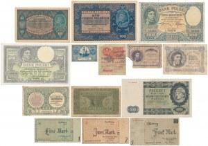 Zestaw banknotów, marki polskie, złotówki i Getto (14szt)