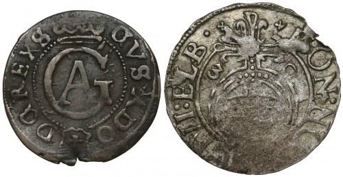 Gustaw II Adolf, Półtorak i Szeląg, Elbląg 1630 i 1627 (2szt)