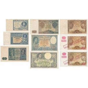 Zestaw banknotów polskich z lat 1919-1941 w tym fałszywe przedruki (9szt)