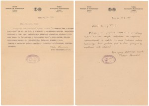 PTN Kraków - Korespondencja numizmatyczna 1950 r. (2szt)