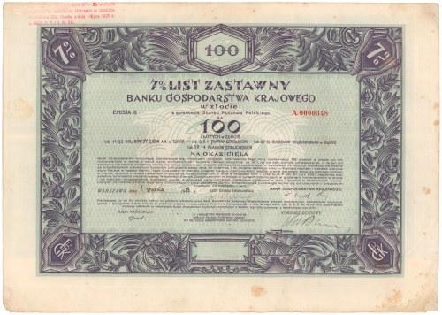 BGK, List zastawny 100 zł 1928