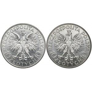 10 złotych 1932-1933 Sobieski i Głowa Kobiety (2szt)