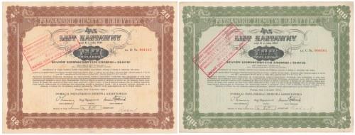 Poznań, PZK, Listy zastawne 20 i 100 dolarów 1933 (2szt)