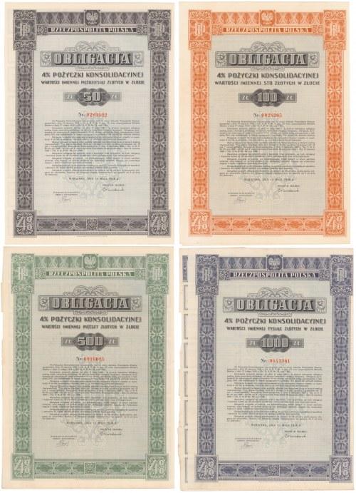 4% Poż. Konsolidacyjna 1936 - komplet obligacji 50-1.000 zł (4szt)