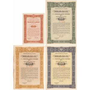 4.5% Poż. Wewnętrzna 1937, Świadectwo ułamkowe 5 zł i Obligacje na 100-1.000 zł (4szt)