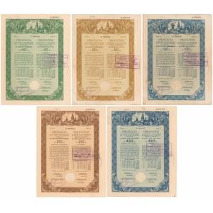Kraków Poż. Konwersyjna Stoł. Król. 1929 r. Obligacje 40-420 zł (5szt)